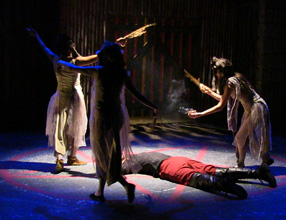 Krystal Moseley, Emily Nichelson and Kasey O'Brien as the Witches; Paige Fodor as Banquo.