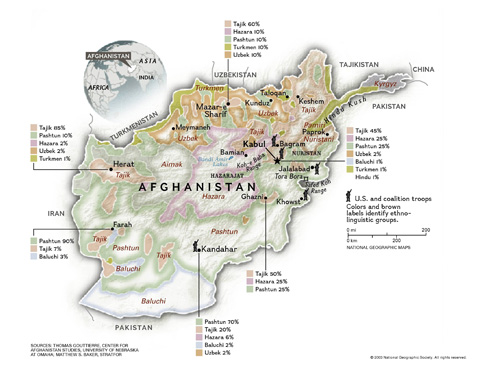 MAP OF AFGHANISTAN'S MAJOR ETHNIC GROUPS
