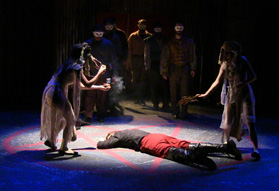 Kasey O'Brien, Emily Nichelson and Krystal Mosley as the Witches, Paige Fodor as Banquo